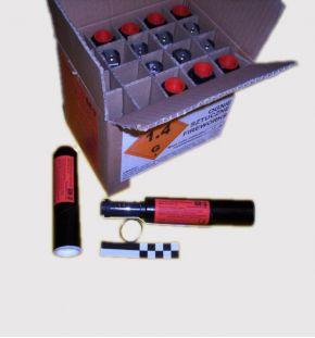 Granat hukowy, 4,8g mieszaniny o działaniu hukowo-błyskowym, zapłonnik patentowy - imitacja zapalnika granatu z łyżką,- opóźnien